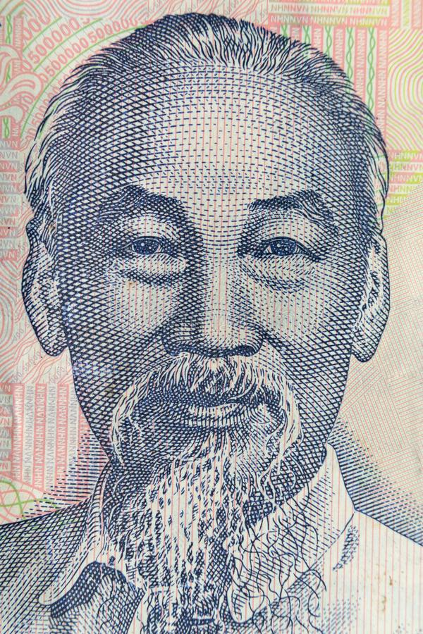 Tiro ultra macro del retrato de Ho Chi Minh del billete de banco vietnamita del dinero foto de archivo