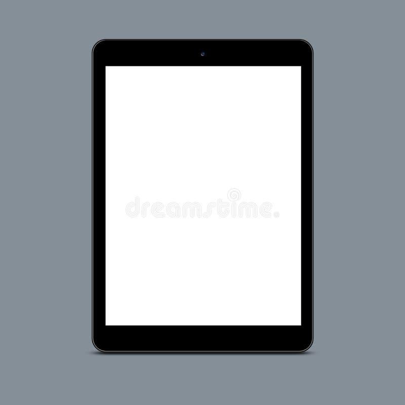 Tiro vertical del panel táctil vacío de la pantalla contra el fondo gris para su contenido o anuncio promocional TABLILLA EN BLAN foto de archivo