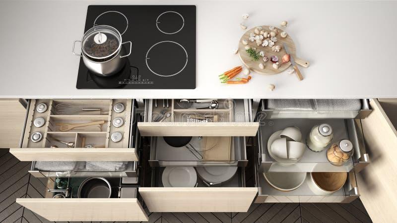 Tiroir en bois ouvert de cuisine avec des accessoires à l'intérieur, solution f illustration stock