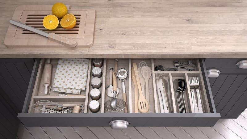 Tiroir ouvert par cuisine complètement de la vaisselle de cuisine illustration stock