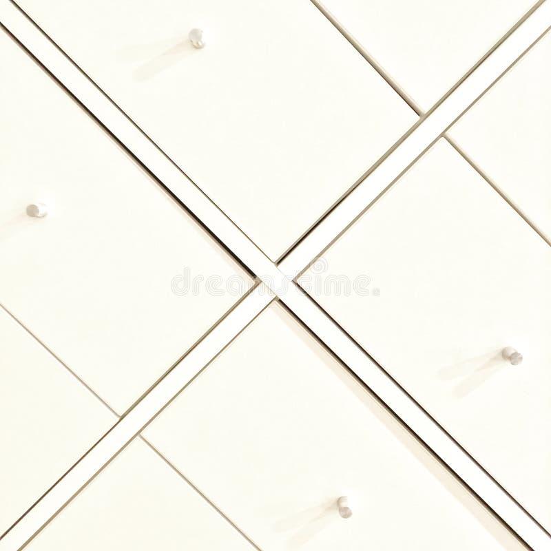 Tiroirs d'une raboteuse blanche élégante photo stock