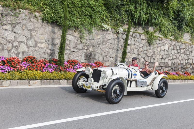 Tirol sul Rallye 2016_ ALVIS Grand Prix Racer TA_side foto de stock
