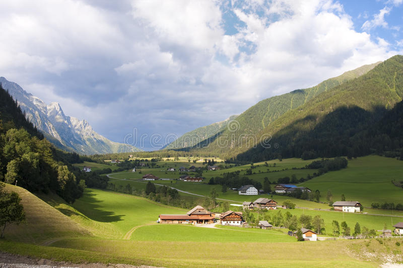 Tirol valley. Landscape of a green valley in Southern Tirol royalty free stock photo