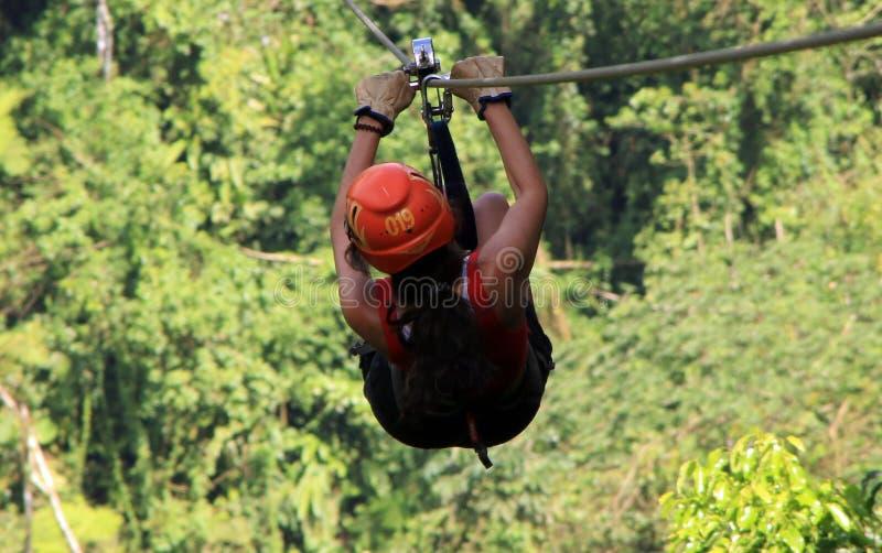 Tirolesa do forro do fecho de correr do dossel em Costa Rica Tour Beautiful Girl foto de stock