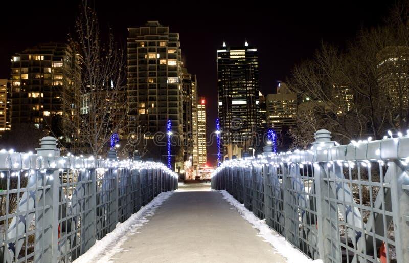 Tiros Calgary Alberta Canada da noite fotografia de stock
