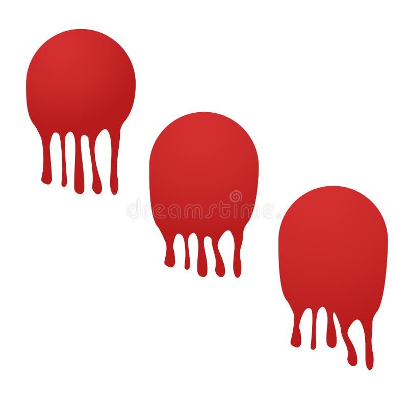 tiros da bola da pintura despedaçados na parede ilustração do vetor