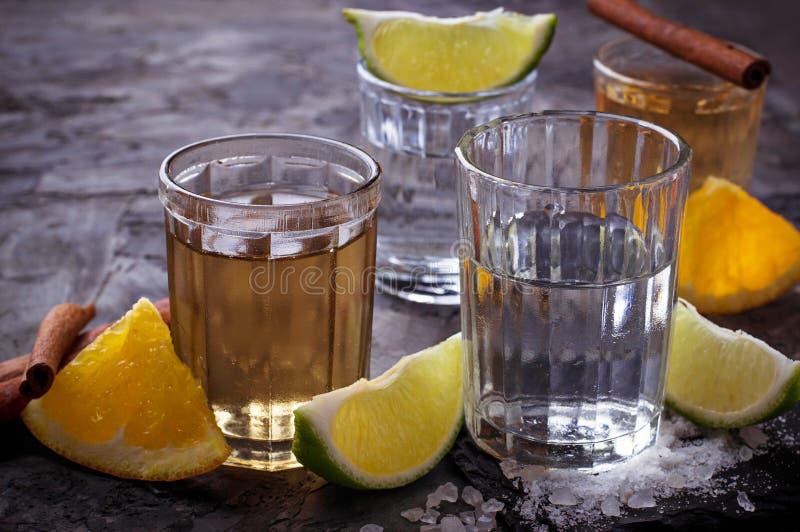 Tiros del tequila de la plata y del oro con la cal, la sal, la naranja y el cin imagen de archivo libre de regalías