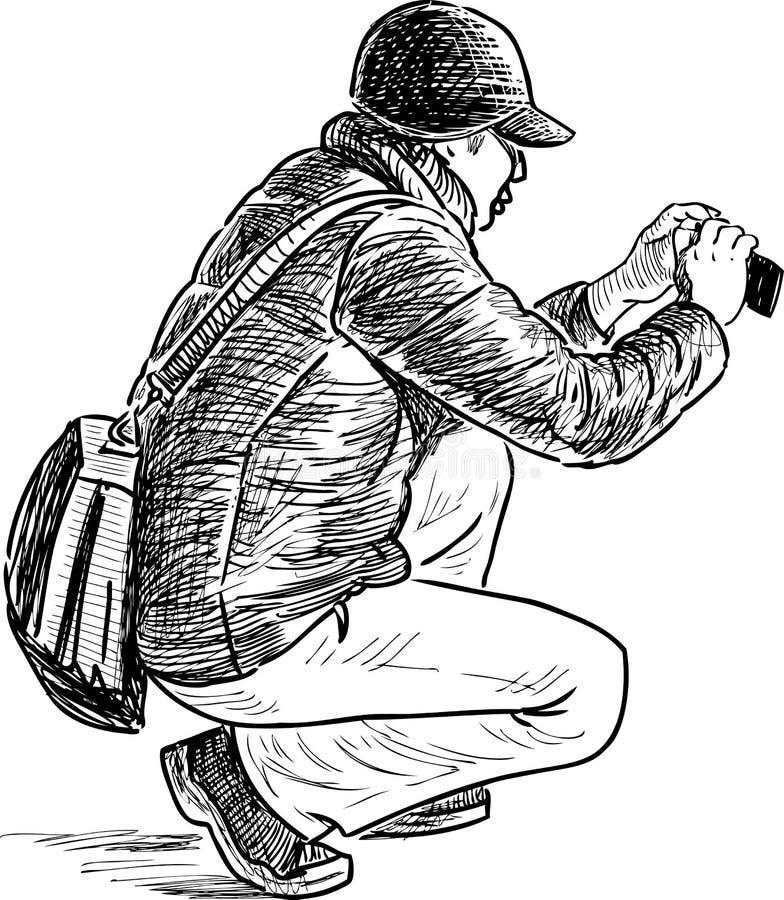 Tiros do homem em um telefone celular ilustração stock