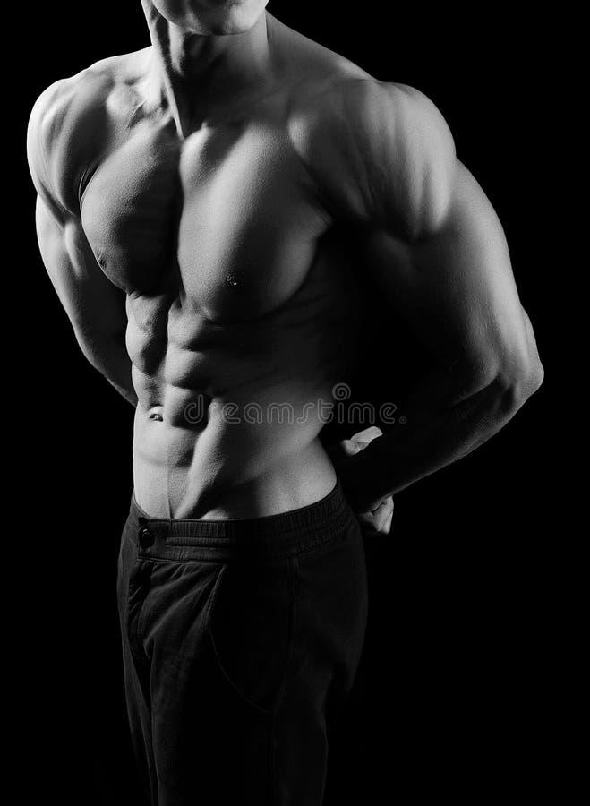 Tiros preto e branco de um modelo masculino da aptidão foto de stock royalty free