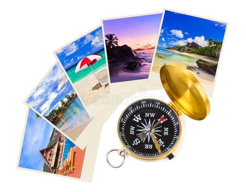 Tiros y compás de la playa del verano fotos de archivo