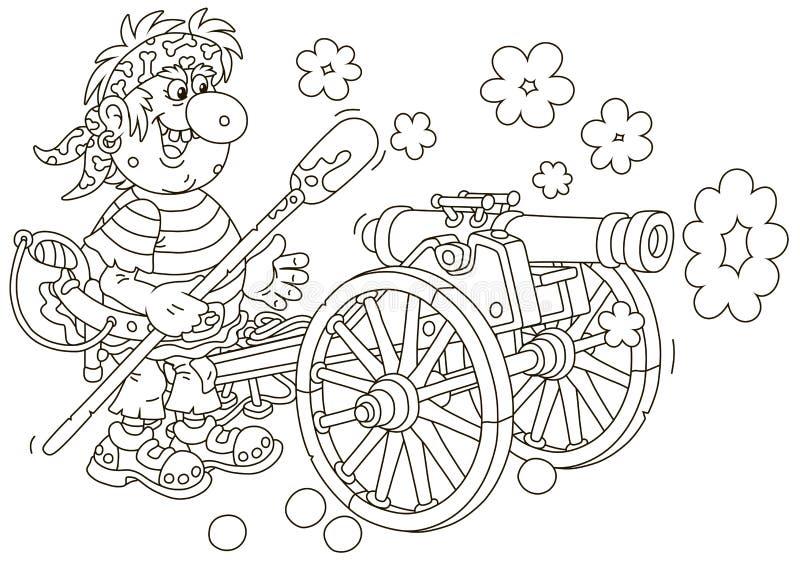 Tiroteo del artillero del pirata de un cañón libre illustration