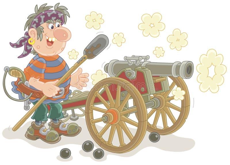 Tiroteo del artillero del pirata de un cañón stock de ilustración
