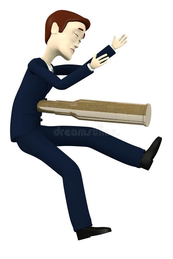 Tiroteo del hombre de negocios de la historieta por la bala ilustración del vector