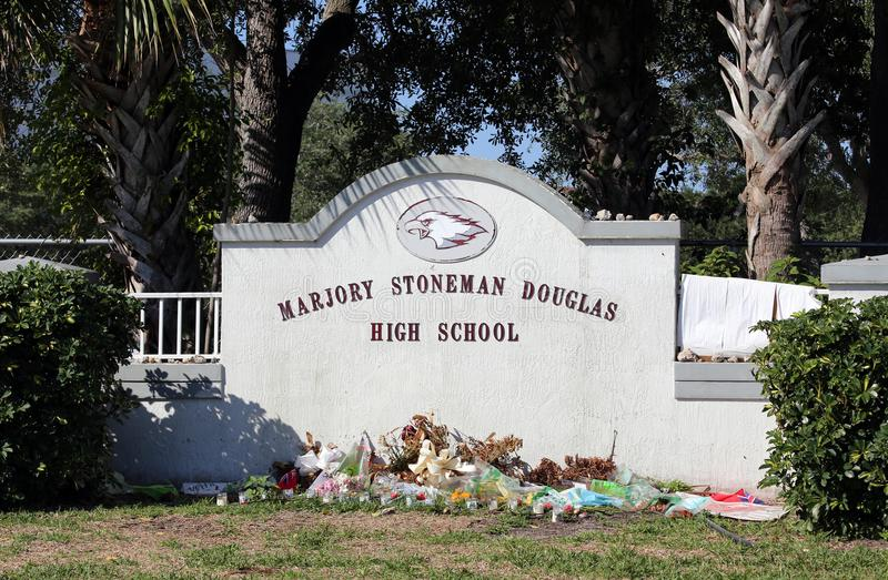 Tiroteo del Parkland de Marjory Stoneman Douglas High School fotos de archivo libres de regalías