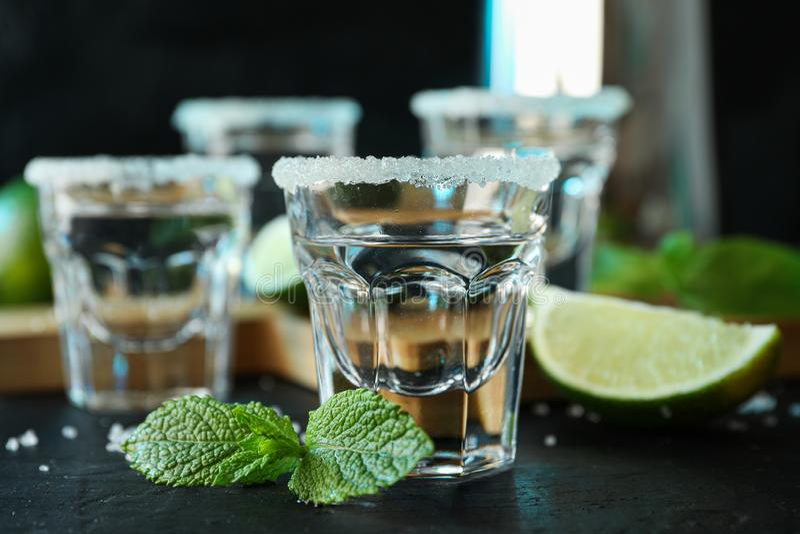 Tirs de tequila avec du sel, les tranches de chaux et la menthe images stock