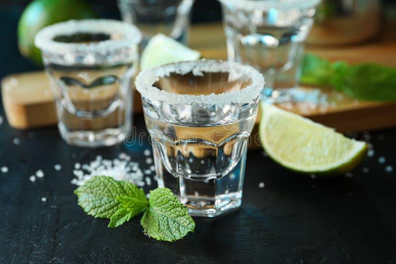 Tirs de tequila avec du sel, les tranches de chaux et la menthe photographie stock