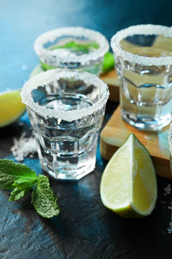 Tirs de tequila avec du sel, les tranches de chaux et la menthe sur la table noire image stock