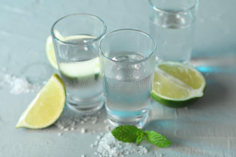 Tirs de tequila, sel, tranches de chaux et menthe sur le fond blanc photo stock
