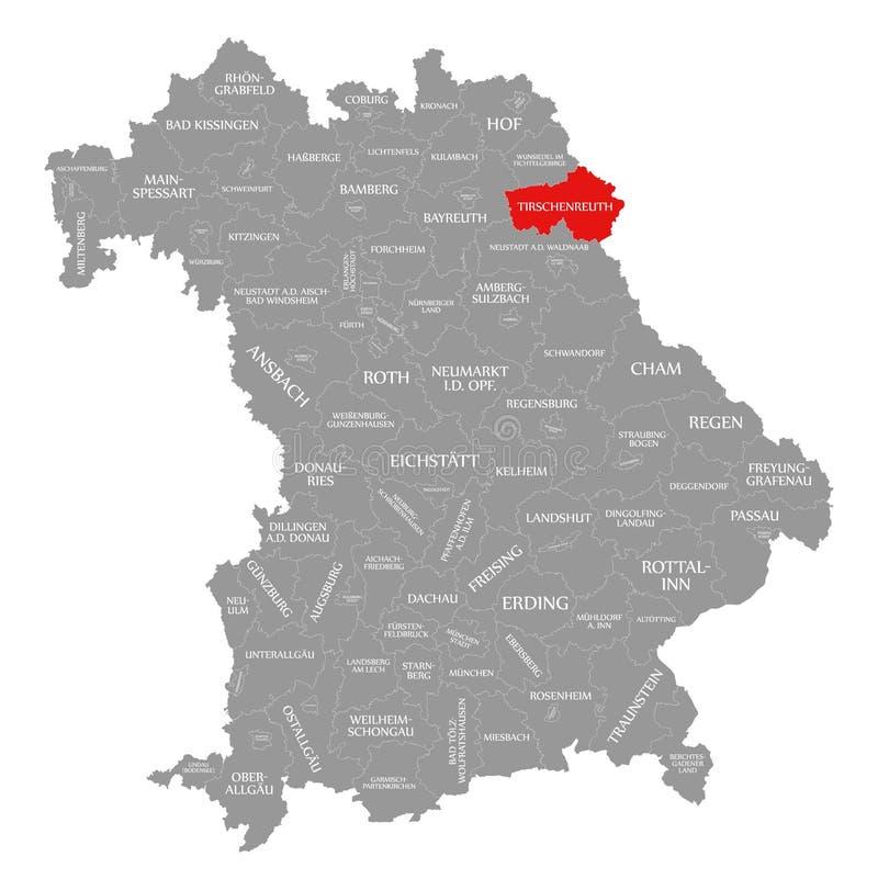 Tirschenreuth okręgu administracyjnego czerwień podkreślająca w mapie Bavaria Niemcy royalty ilustracja