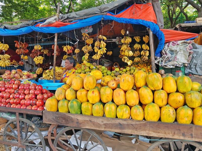 Tiruvanamalai, India - 19 2019 Grudzień: Owocowy sprzedawca w ulicach od Tiruvanamalai w India obrazy stock