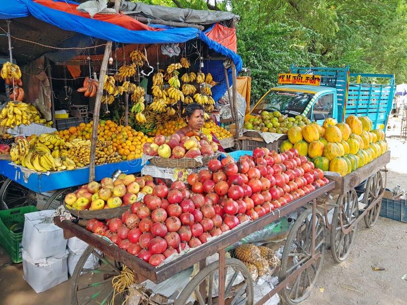 Tiruvanamalai Indien - 19 december 2019: Frukts?ljare i gatorna fr?n Tiruvanamalai i Indien royaltyfri bild