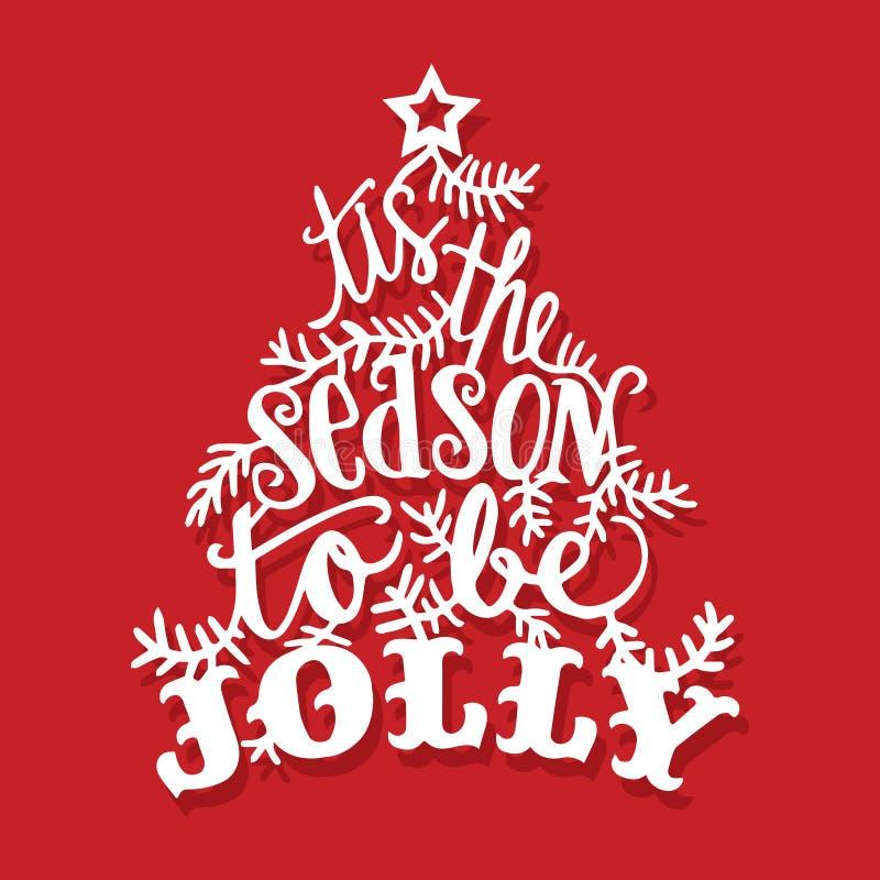 Tis do vintage a estação a ser corte alegre do papel da árvore de Natal ilustração royalty free