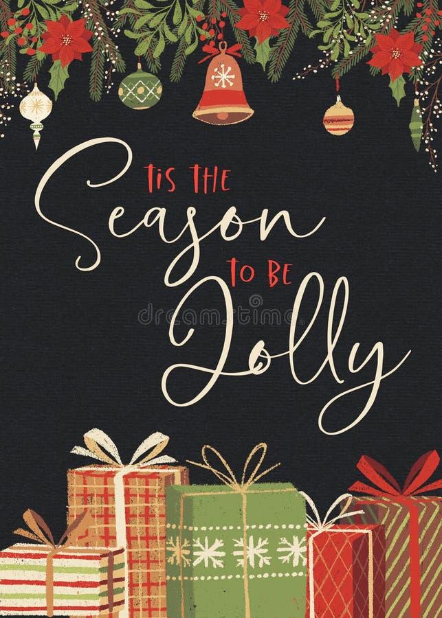 Tis a estação a ser Jolly Christmas Card Template ilustração stock