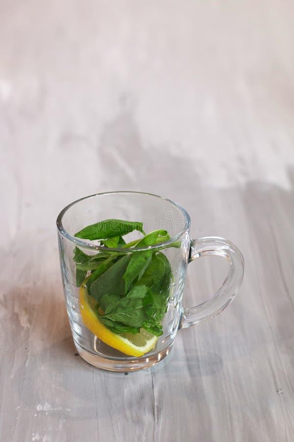 Tisana com limão e hortelã em um copo de vidro, fresco, na vitamina e na bebida da saúde fotos de stock