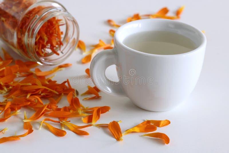 Tisana fatta dal officinalus della calendula, o la calendula, con i fiori arancio freschi usati come colorante dentro immagini stock libere da diritti