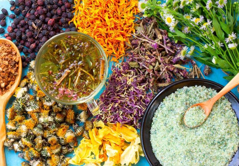 Tisana quente, um grupo de flores secadas e bagas, ervas, casca do carvalho, sal do mar na tabela de madeira velha imagem de stock royalty free