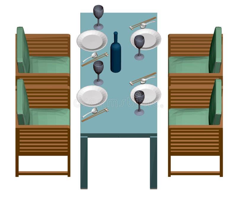 Tisch mit Tellern, Gläsern und einer Flasche Wein japanische Küche Vier Sessel neben einem rechteckigen Tisch anzeigen stock abbildung