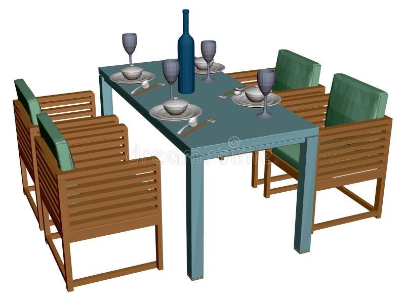 Tisch mit Tellern, Gläsern und einer Flasche Wein japanische Küche Vier Sessel neben einem rechteckigen Tisch anzeigen vektor abbildung