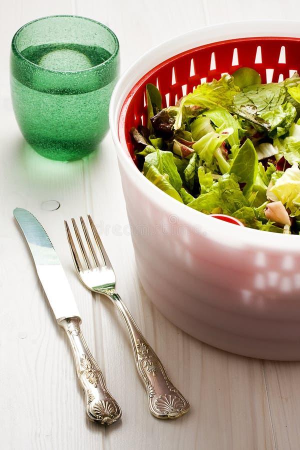 Tischbesteck Bush des grünen Salats und des Glases Wassers lizenzfreie stockbilder