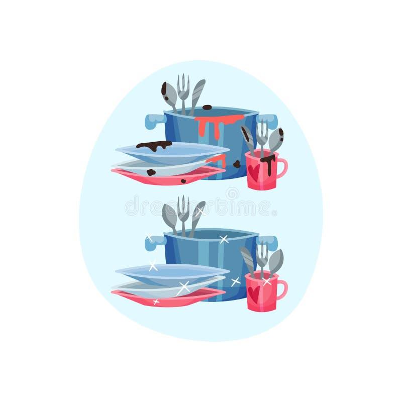 Tischbesteck in der Wanne und im Becher nahe bei den Platten Vektorillustration auf blauem ovalem Formhintergrund vektor abbildung