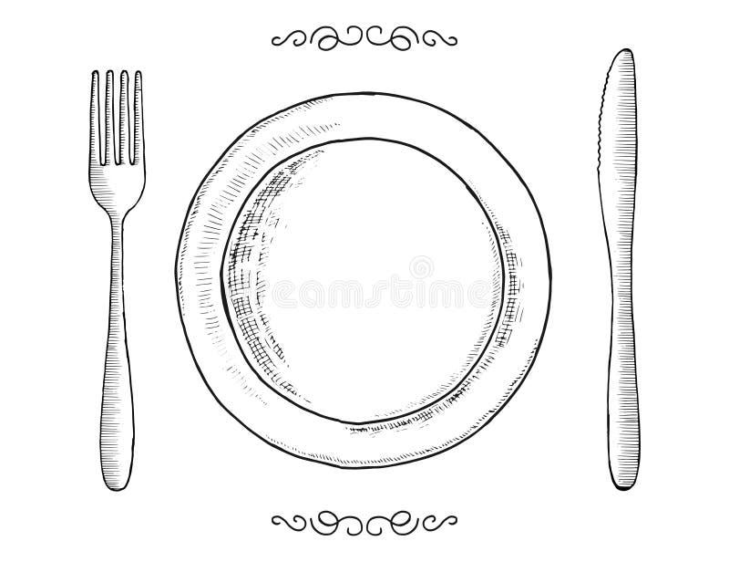 Tischbesteck lokalisierte Weinlese Gegenstände eingestellte Gabelplatte und -messer vektor abbildung