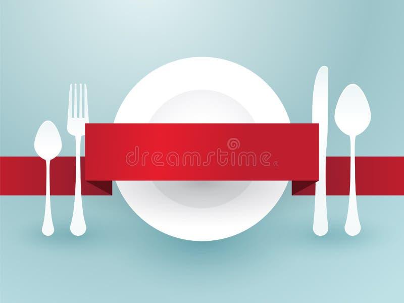 Tischbesteck mit Band stock abbildung