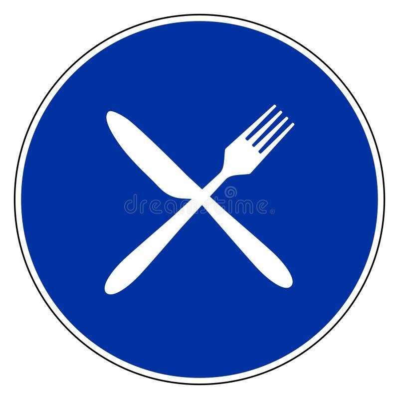 Tischbesteck und blaues Zeichen stock abbildung