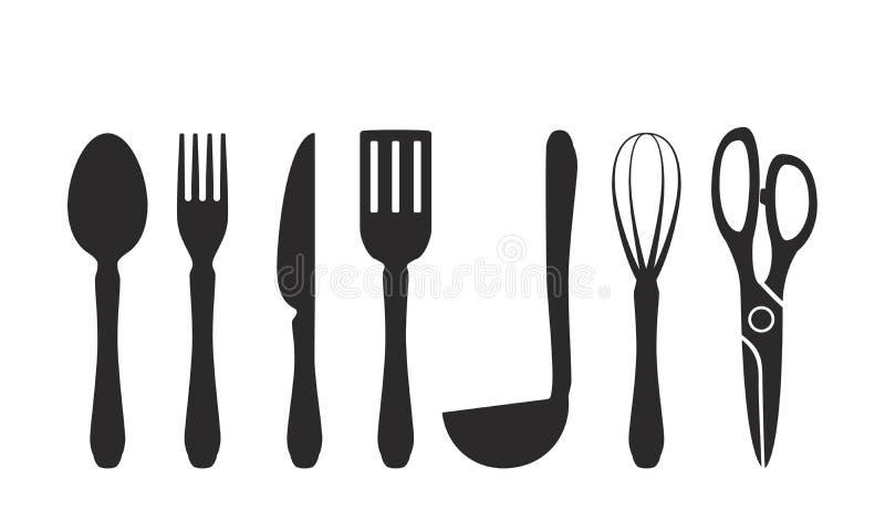 Tischbesteckikone Satz Ikonen im Stil des flachen Designs stock abbildung