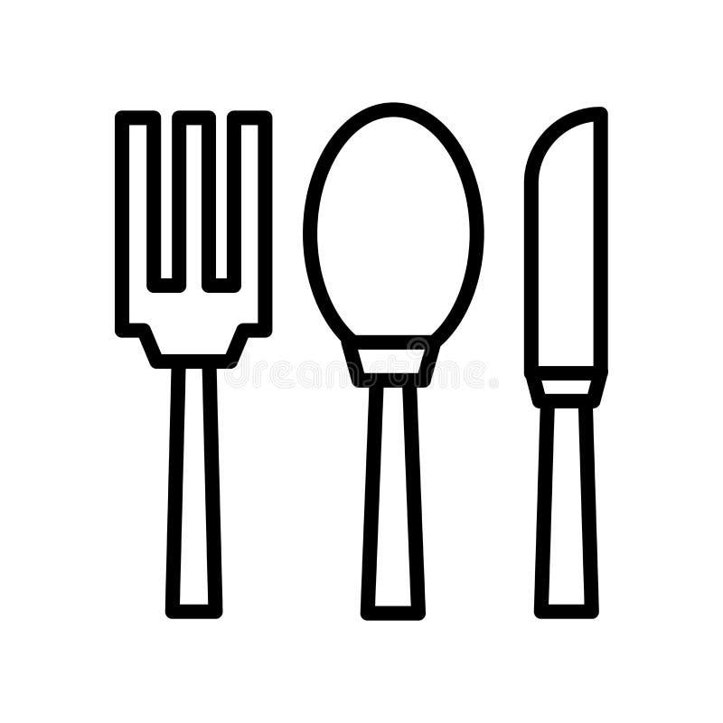 Tischbesteckikonenvektor lokalisiert auf weißem Hintergrund, Tischbesteckzeichen, Linie oder linearem Zeichen, Elemententwurf in  vektor abbildung