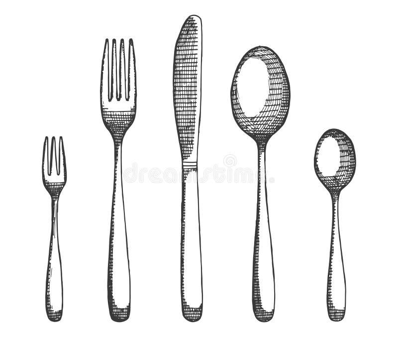 Tischbestecksatz Gabeln und Löffel, Messervektor Handzeichnung lokalisierte Illustration vektor abbildung