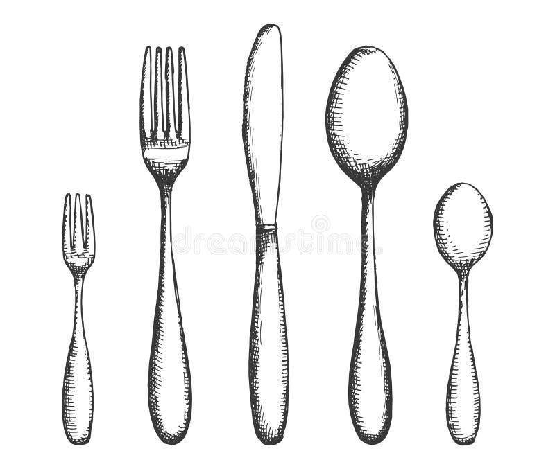 Tischbestecksatz Gabeln und Löffel, Messervektor Handzeichnung lokalisierte Illustration stock abbildung