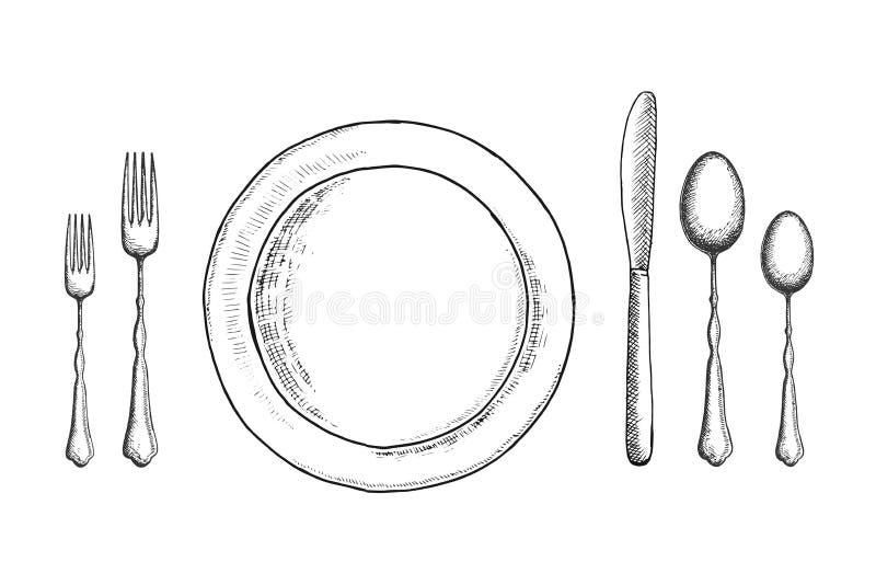 Tischbesteckvektor-Skizzensatz Löffelgabel und -messer nahe der Platte Legen Sie Einstellung ver lizenzfreie abbildung