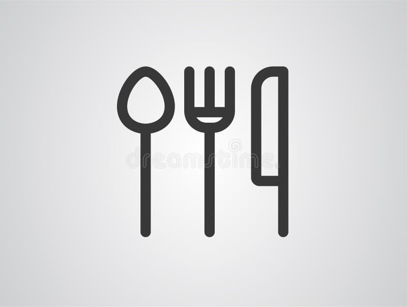 Tischbesteckvektorikonen-Zeichensymbol vektor abbildung