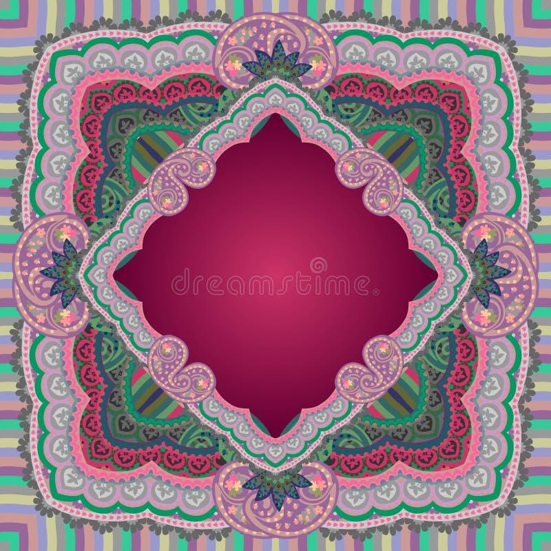 Tischdecke oder Schal mit schöner Paisley-Verzierung in den dunklen hochroten und grünen Tönen Arabische, indische, persische Mot lizenzfreie abbildung