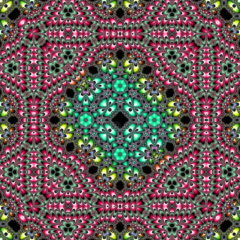 Tischdecke, Teppich mit Mandala und dekorative Grenze auf Blumenhintergrund, bewirken bunten Fractal, Wolldecke oder tapis vektor abbildung