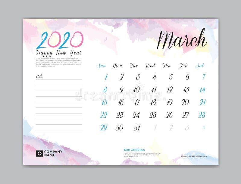 Tischkalender für 2020-jähriges, im März 2020 Schablone, Wochenanfang am Sonntag, Planerentwurf, Briefpapier, Geschäftsdrucken, A vektor abbildung
