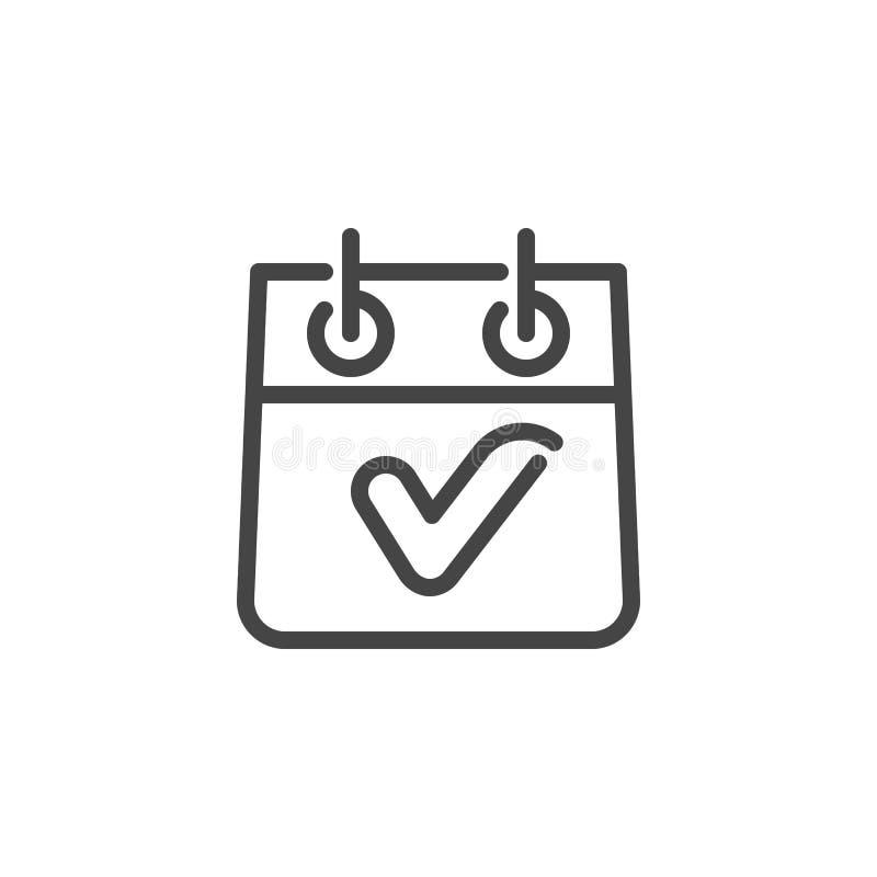 Tischkalender mit Häkchen Abgeschlossene Aufgabe, Checkliste getaner Logo Isolated Ereignis und Datum, Monats-Linie Piktogramm vektor abbildung