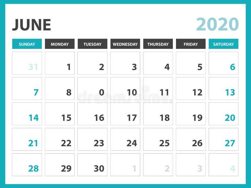 Tischkalender-Plan Größe 8 x 6 Zoll, im Juni 2020 Kalenderschablone, Planerentwurf, Wochenanfänge am Sonntag, Briefpapierentwurf lizenzfreie abbildung