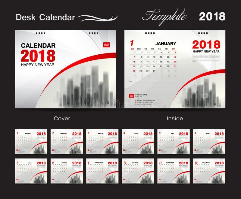 Tischkalender2018 Schablonendesign, rote Abdeckung, Satz von 12 Monaten vektor abbildung