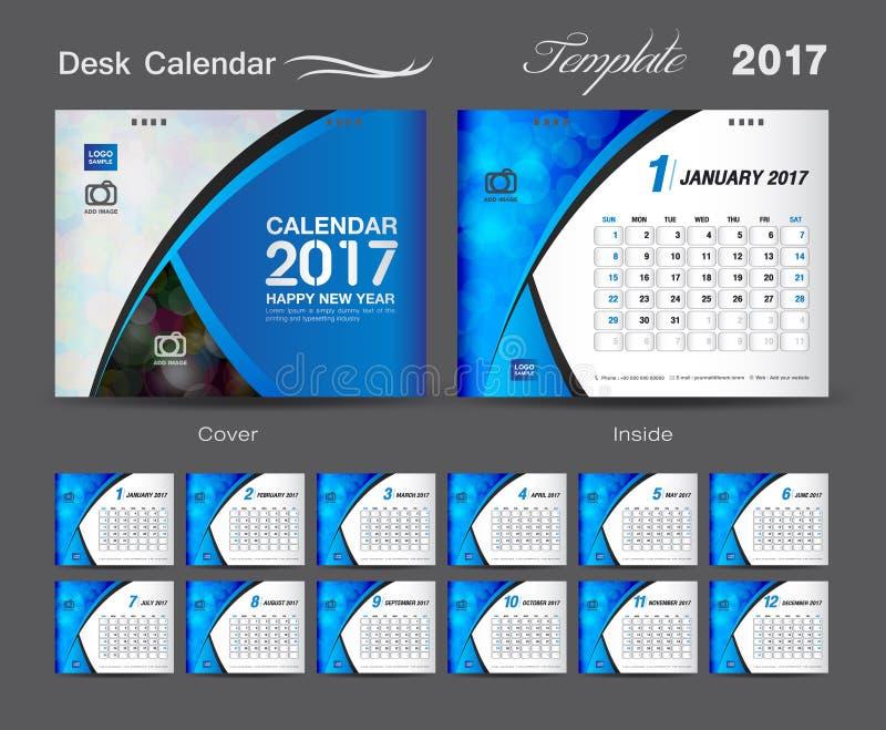 Tischkalender2017 Schablonendesignsatz, Abdeckung Tischkalender lizenzfreie abbildung
